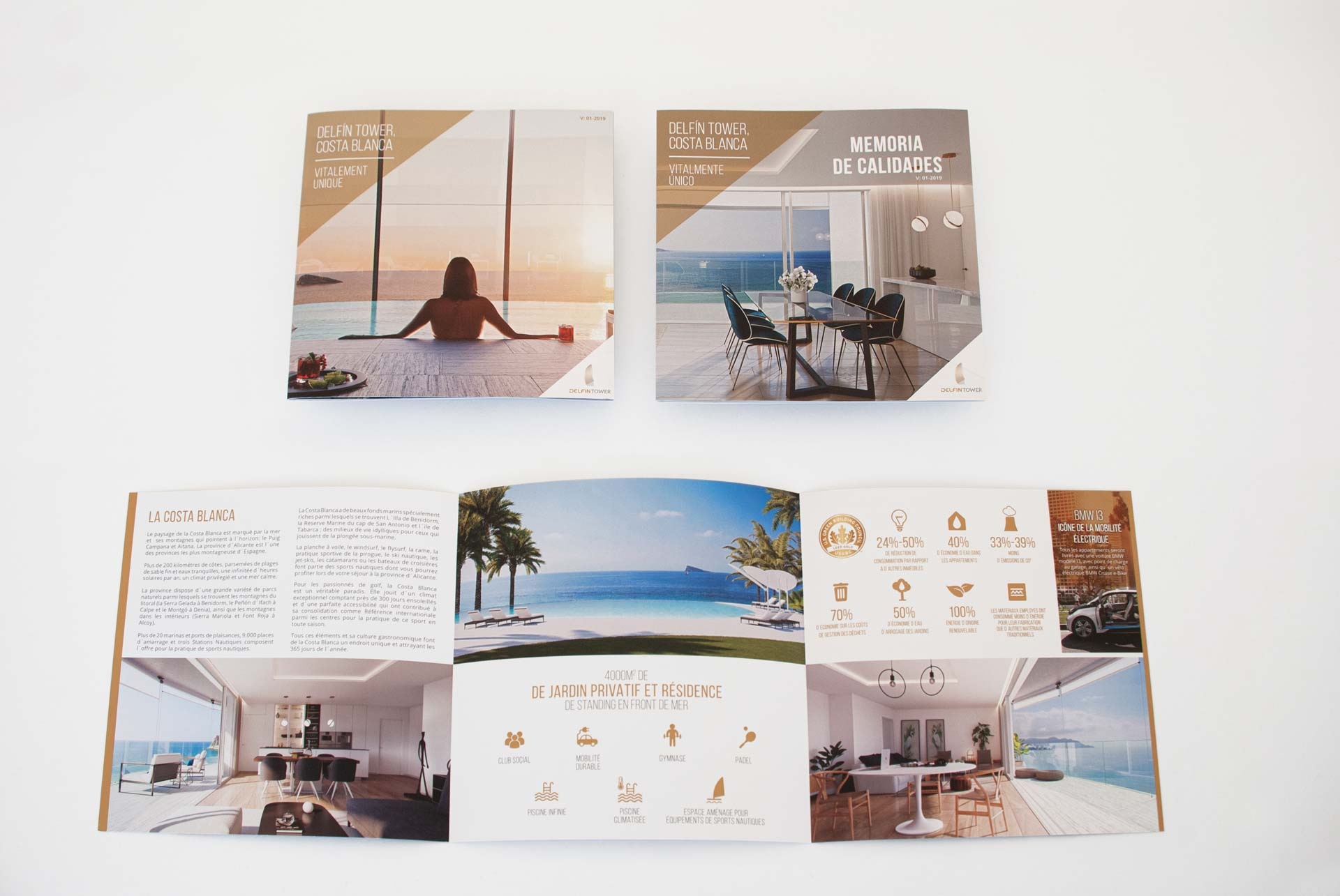giset design delfin tower identidad corporativa flyer triptico