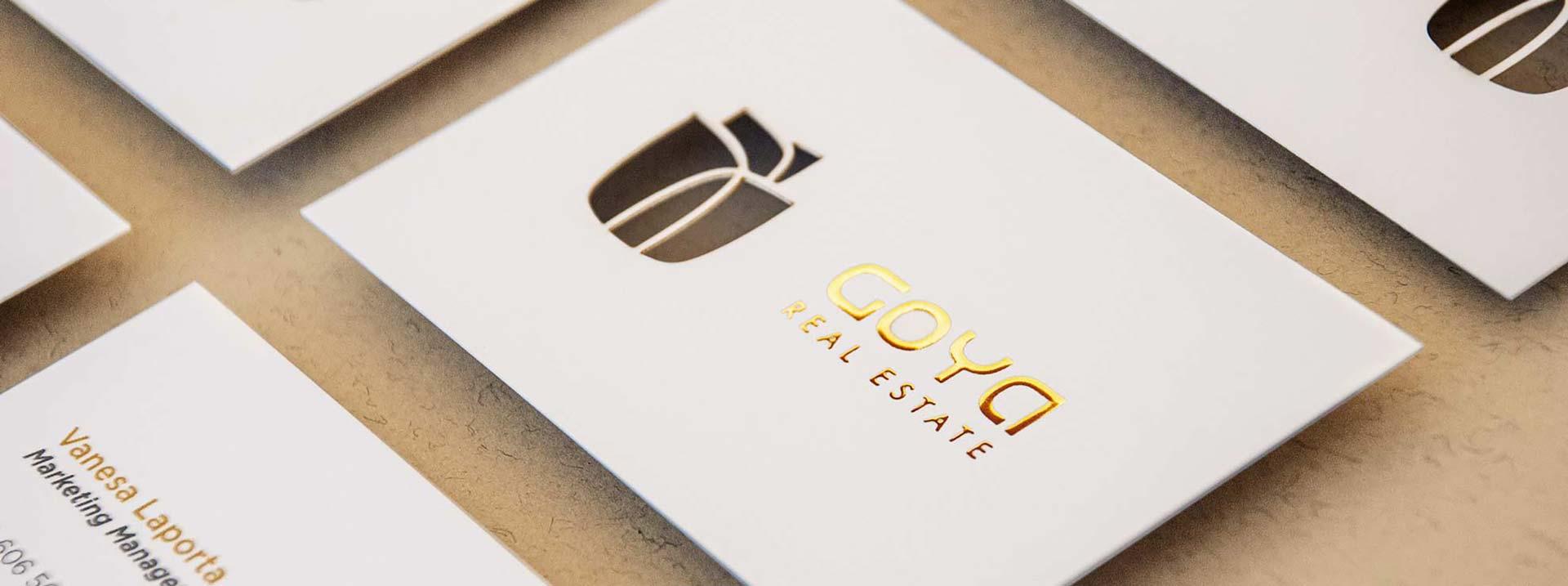 proyecto giset design goya real estate logo y identidad corporativa tarjeta de visita original con troquel