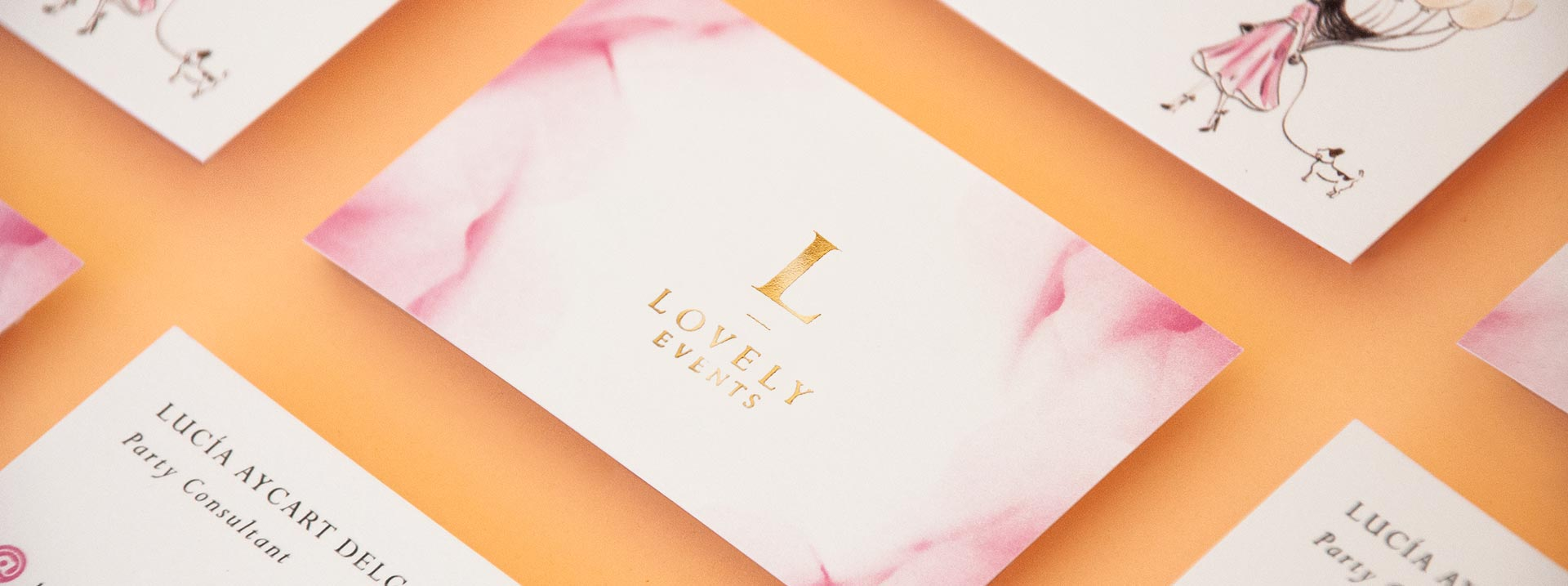 giset design lovely events logo y tarjetas de visita