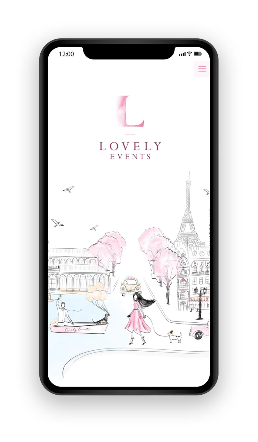 giset design web responsive portada lovely events movil